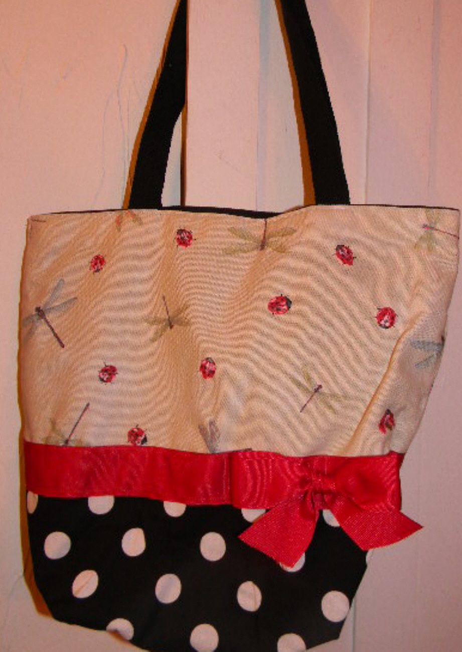 Cream & Red Dragonfly & Ladybug POLKA DOT Purse - Tote