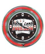 Four Aces Red n Black Neon Wall Clock  14 inch ... - $118.88