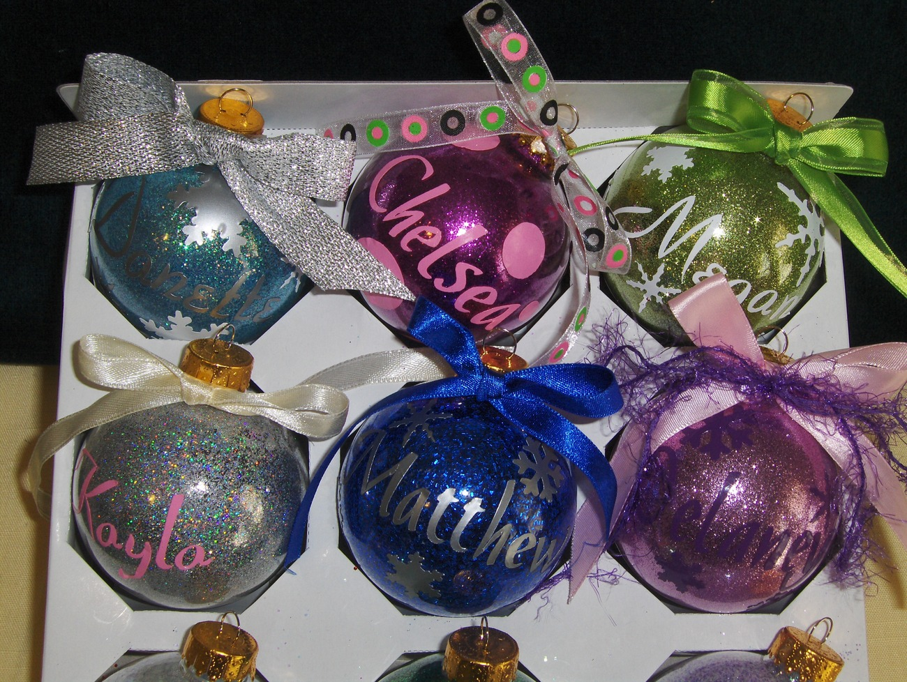 Personalized Glitter Christmas Ornaments