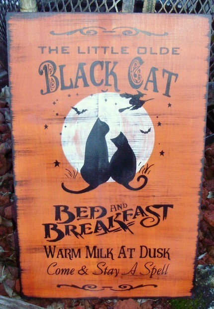 Cat signs black cats bed and breakfast primitive witches Halloween Sign Decor 