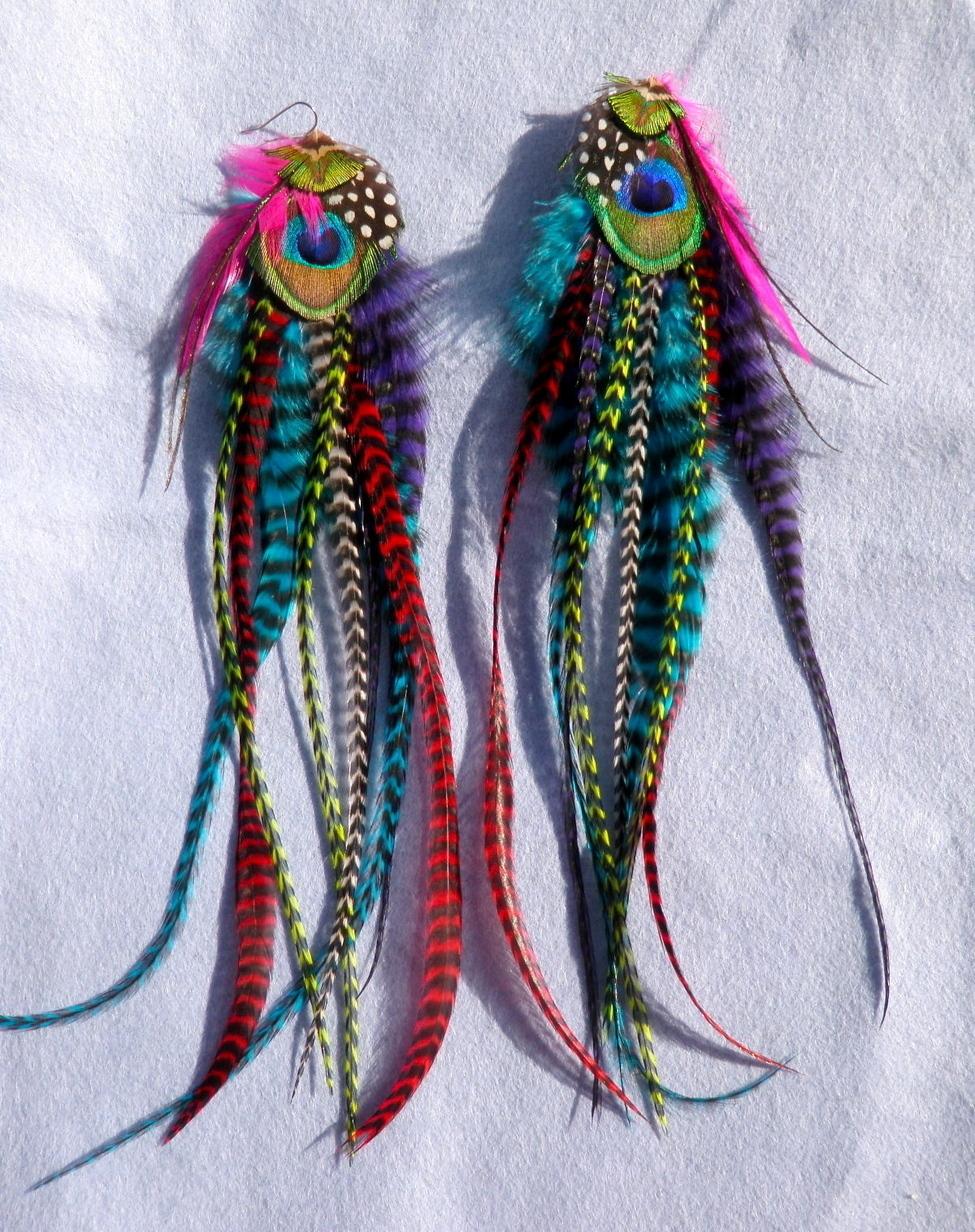 Kaleidoscopic Extra Long Feather Earrings
