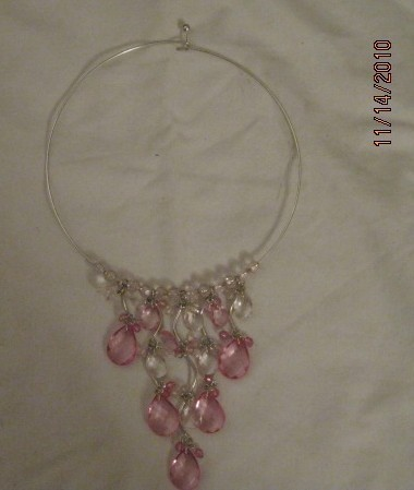 Pink & White Beaded Drop Necklace
