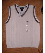 Winter White Blue Brown Trim Cable Sweater VEST... - $7.99