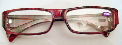 Vision Optical Reading Glasses +3.00  Dark Red Frame