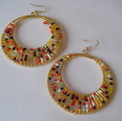 Large Beaded Multi Color Hoop Loop EARRINGS Pendant