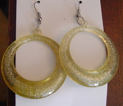 Light Green Sparkling Lucite Earrings Loop Hoop Pendant