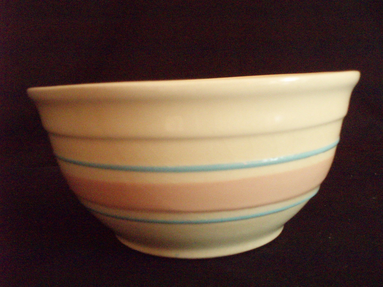 McCoy 7 inch pink and blue Banded Mixing Bowl vintage