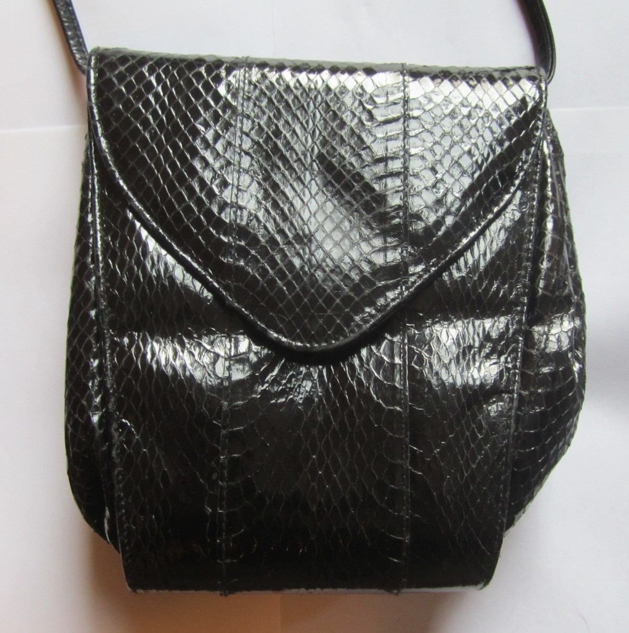 Vintage Black Genuine Snakeskin Purse  by Aspect  Circa 1950s