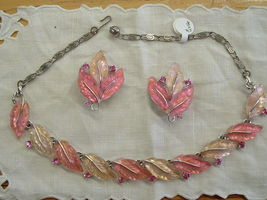 Lisner Necklace and Earrings Pink Leaf and Rhin... - $49.00