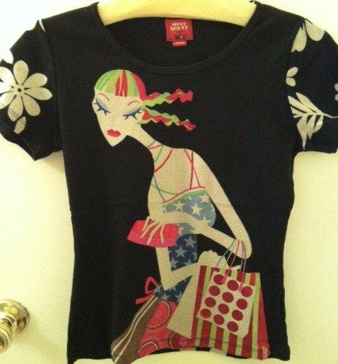 MISS SIXTY Made in Italy lovely Custo-lk print TOP shirt tee