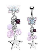 BELLY NAVEL RING PINK & PURPLE CRYSTAL WITH STA... - $7.99