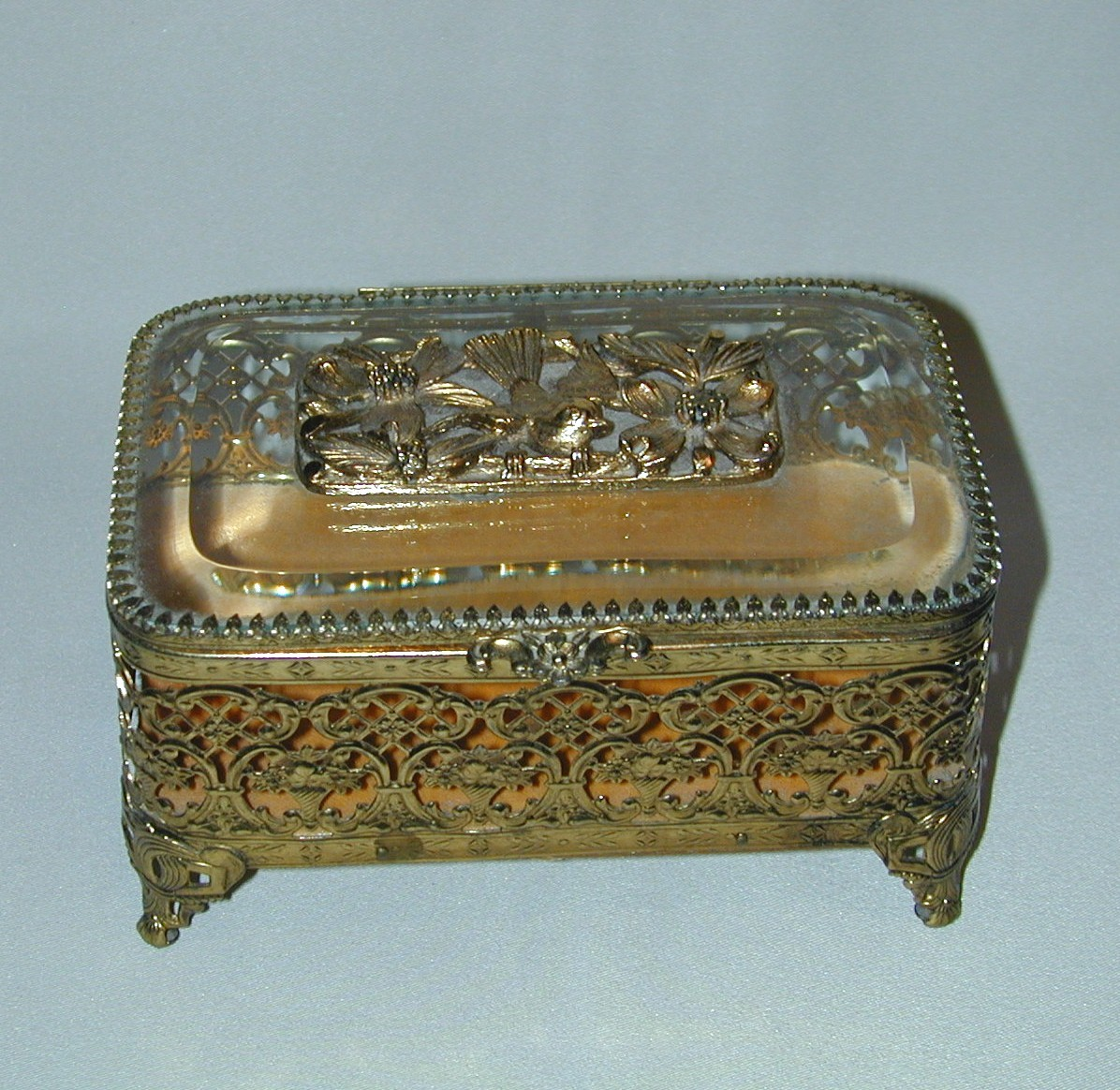Marvelous Vintage Filigree & Glass Jewel or Trinket Box With Bird & Flowers