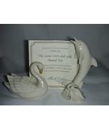 Lenox Ivory China 24 KT Gold Accent Animals Swa... - $16.00