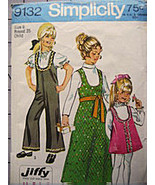 Simplicity 9132 Vintage1970s Pattern Girls Size... - $9.95