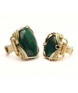 Wire Wrap  Malachite Two Tone Silver / 14kt GF ... - $150.00