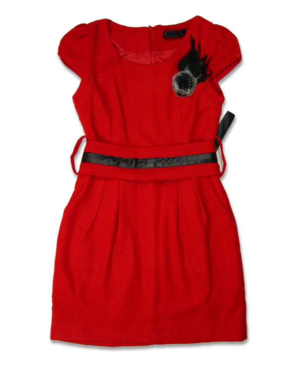 Holiday Cocktail Dress Collection Red Dress With Belt Size S/M