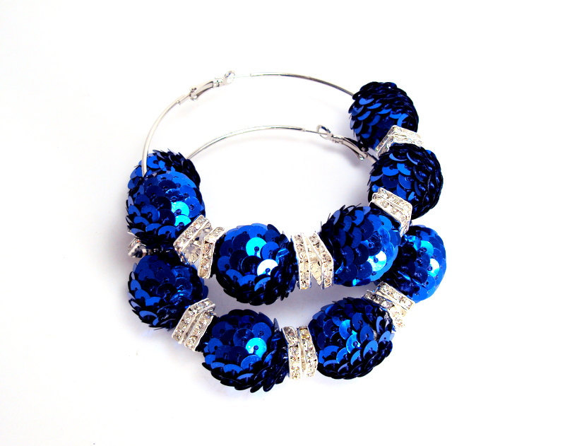 Blue Sequin Beaded Hoop Earrings  Basketball Wives Earrings