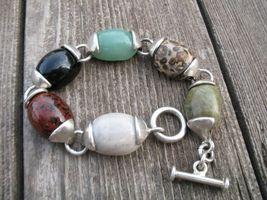 Vintage Mexico Sterling Silver Stones Bracelet ... - $60.00