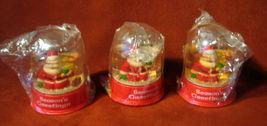 Lot 3 Santa Snow Globes Domes Vintage Seasons G... - $24.16