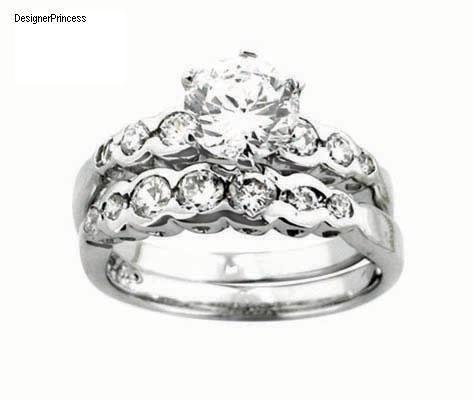 2Ct Russian Sterling Silver CZ Diamond Brilliant Cut Wedding Ring Set Size 6