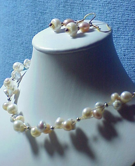 PASTEL FW PEARLS  CLUSTER BRIDAL   necklace set  choose your colors   HANDMADE