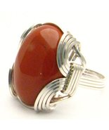 New Wire Wrap Red Jasper Silver Gemstone Ring - £48.60 GBP