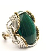 Wire Wrapped Malachite Silver / 14kt Gold Fille... - $150.00