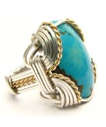 Wire Wrapped Turquoise Silver / 14kt Gold Fille... - $150.00