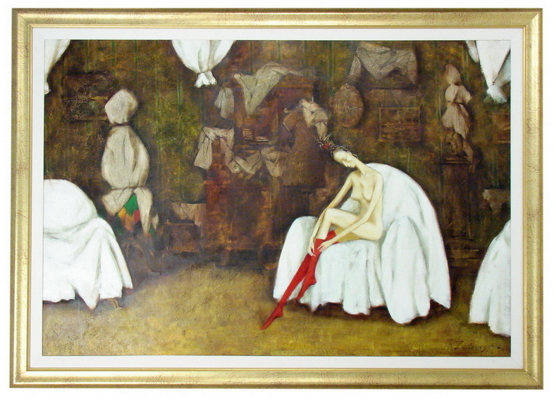 Roman Zaslonov Couvertures Blanches - Signed Oil Painting
