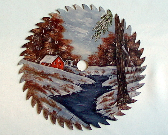 Hand Painted Saw Blade Winter Cabin By The River Order