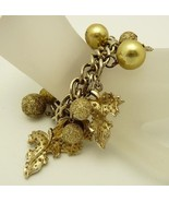 Vintage Jewelry Charm Bracelet Leaves Balls  - $52.95