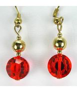 Faceted Swarovski Red - AB Crystals with 18k Ye... - $51.87