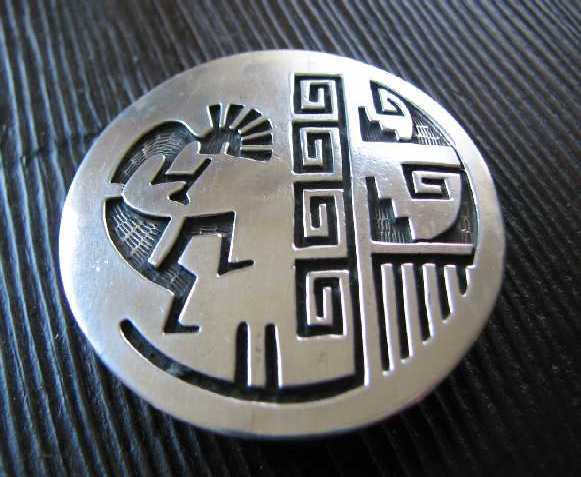 Lawrence Saufkie   Sterling Overlay   Kokopelli Belt Buckle   Hopi Round Signed