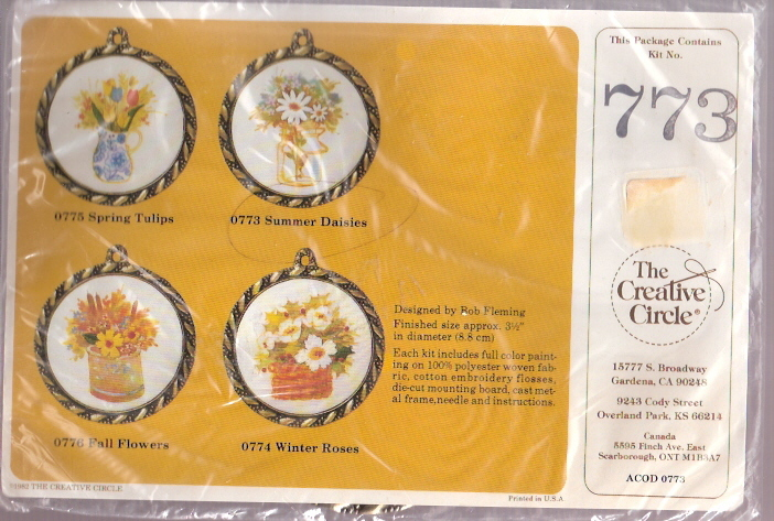 "Vintage 1985 Creative Circle ""Summer Daisies"" Framed Embroidery Kit"