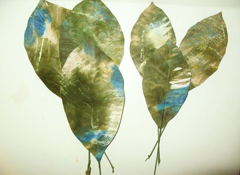 "HUGE 9"" & 6"" Vintage Millinery Flower Leaves Olive Blue"