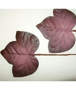 Vintage Millinery Flower FIG LEAVES Plum Wine P... - $9.55