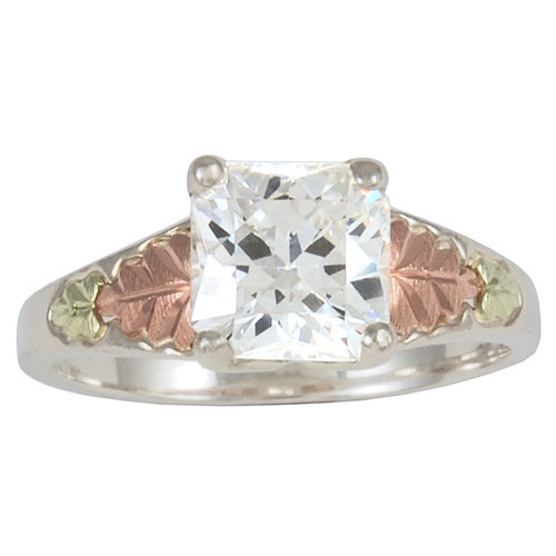 Ladies Sterling Silver Ring With CZ Stones And 12 Karat Gold Accents - 1224-GS