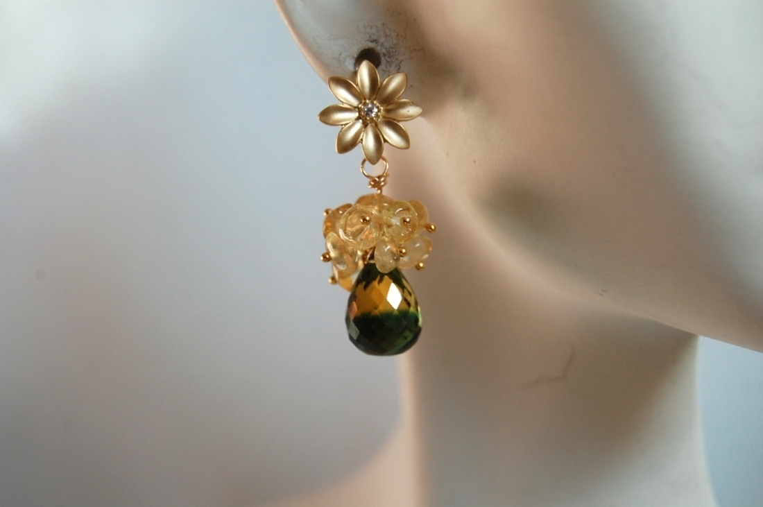 AAA yellow green bi-colour quartz and citrine cluster ea