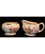 Vintage Pearlescent  Pink Blue Floral Gold Trim... - $12.50