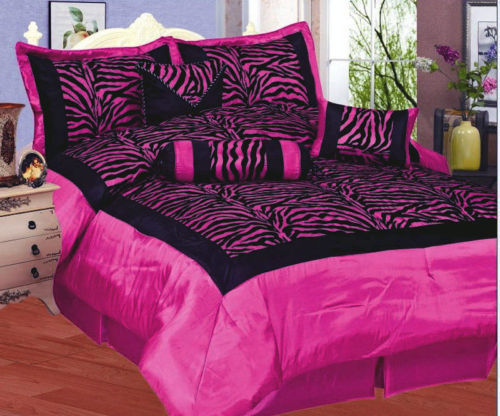 ZEBRA BLACK PINK COMFORTER CURTAIN SATIN FULL 15Pcs
