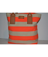 NWT Kate Spade Jubilee Stripe Bon Shopper Tote Bag Coral $278 Gorgeous NEW