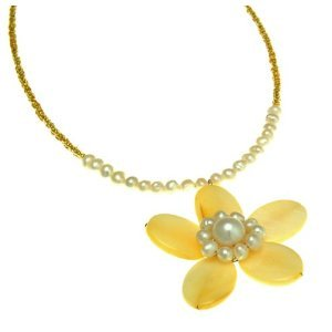 Yellow Pearl Flower Necklace Fashion Jewelry