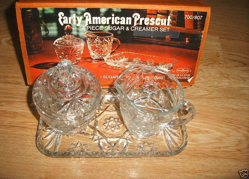 Set 6 Anchor Hocking EAPC Sugar Creamer Tray Vase Prescut Star of David Vintage