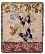 50x60 BUTTERFLY Floral Tapestry Throw Afghan Bl... - $42.50