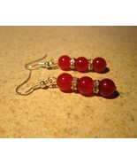 EARRINGS RED JADE TIBET SILVER TRIPLE BEAD PIER... - $8.99