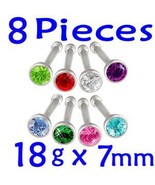 Lot 18g 7mm Nose Studs Bone Screw Rings Bars Ge... - $8.89
