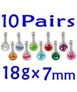Lot 18g Nose Ring Bar Stud Bone Screw Tragus Je... - $21.27