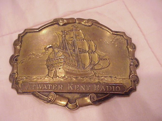 """Great for the Collector"" Atwater Kent Radio Brass Belt Buckle"