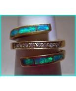 Opal Ring 18k Diamonds Custom Made Inlay 15.5 g... - $1,199.00