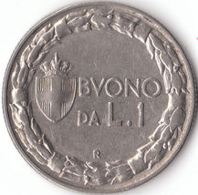 A vintage 1923 R One lire Coin from Italy A fin... - $14.00